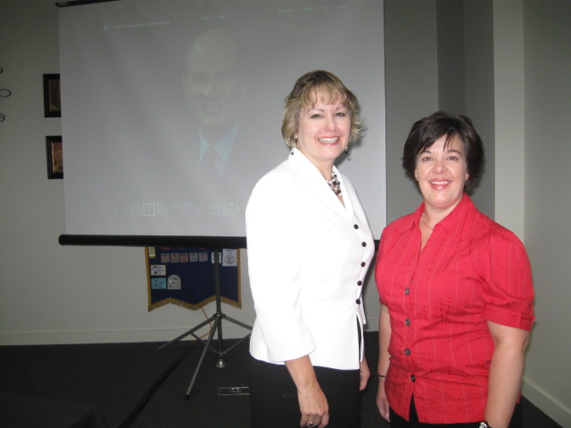 Wendy Bishop (right) and I after our Kiwanis presentation