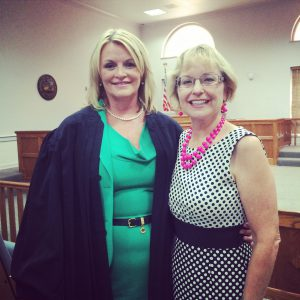 Judge Lisa Rice on the day of her swearing-in with campaign manager Mary Ellen Miller.