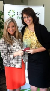 Sarah Kinsler and Emma Brock accepting MarketingMel's Faith in the Future award.