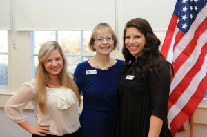 Intern Emma Brock, right, with Sarah Kinsler and Mary Ellen Miller at a recent client campaign event.