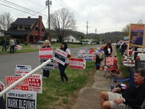 Carter County electioneers during the May primary.