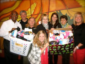 The community came together to give socks to the homeless.