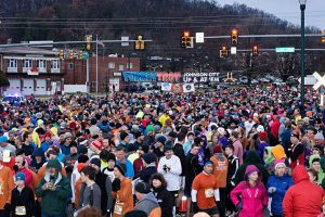 Preparing for the start of the 2014 UP & At 'Em Turkey Trot.
